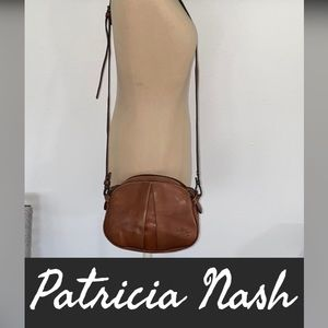 Auth Patricia Nash brown leather crossbody purse